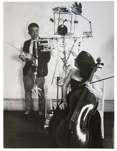 "Nam June Paik and Charlotte Moorman, 'Paik's ""Robot Opera"" in his old loft, 359 Canal Street, NYC', 1964/1975"