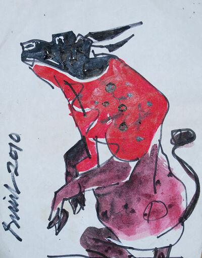Sunil Das, 'Bull, Mixed Media in red & pink color by Padma Shree artist Shri Sunil Das', 2010