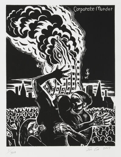 Sue Coe, 'Grenfell Tower (Corporate Murder)', 2017