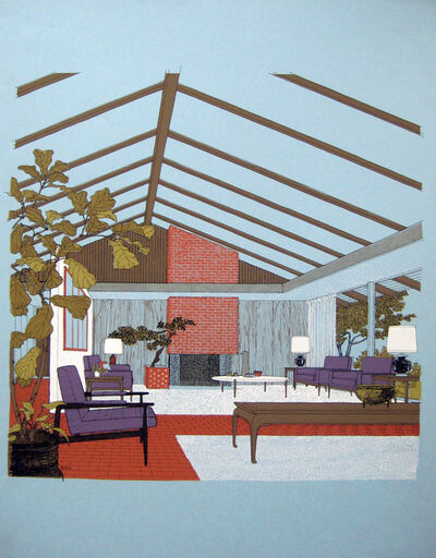 Carlos Diniz, 'Monarch Bay Homes, Living Room (Ladd and Kelsey, Architects) (Blue)', 1961