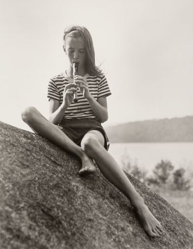 Barbara Morgan, 'Girl Playing Recorder and Children Playing by Lake (2 works)', 1940-1945