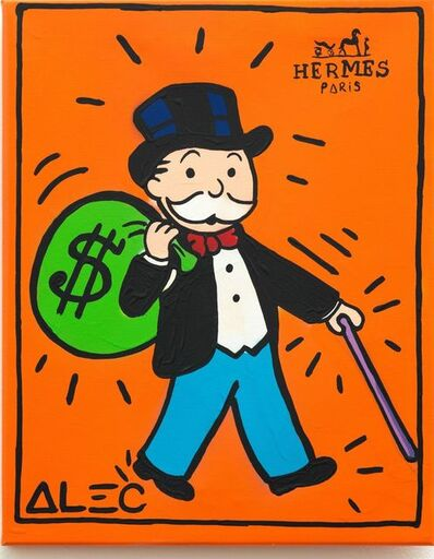 Alec Monopoly, 'Hermes- Monopoly with dollar bag and purple cane ', 2020