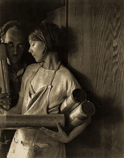 Imogen Cunningham, 'Edward Weston and Margethe Mather Holding Platinum Rolls, 1923', 1994