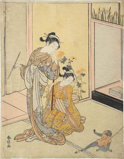 Suzuki Harunobu, 'Courtesan and Shinzo with Pet Monkey'