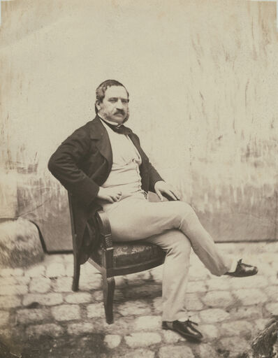 Charles Nègre, 'Sitting Mustached Gentleman in the Courtyard of 21 Quay Bourbon', 1853c/1853c