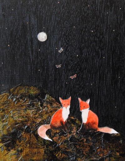 Ashley Anne Clark, 'Two Foxes, Butterflies & Full Moon', 2018