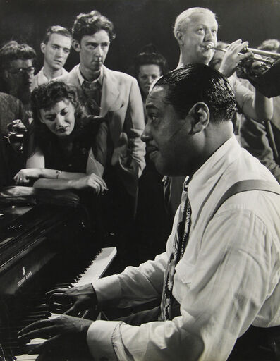 "Gjon Mili, 'Composer-pianist-arranger Duke Ellington playing ""Sophisticated Lady"" during jam session at photographer Gjon Mili's studio, NY.', 1943"