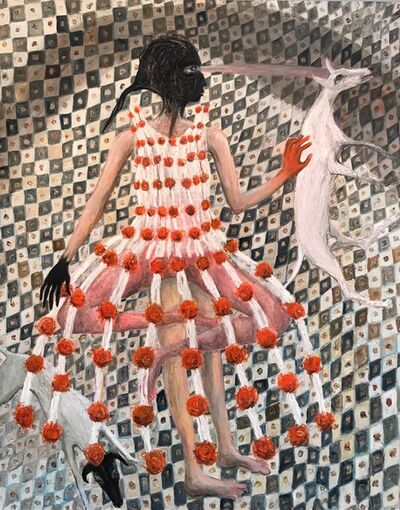 Rebecca Swainston, 'Woman in connecting dress of cells', 2020