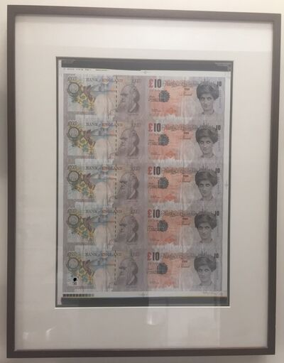 Banksy, 'Di-Faced Tenners (Signed Sheet)', 2004