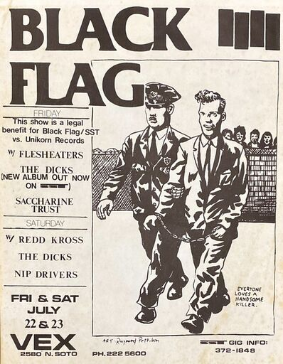 Raymond Pettibon, 'Raymond Pettibon Black Flag at Vex (Pettibon illustrated punk flyer) ', 1983