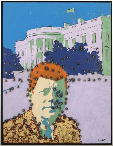 Viktor Mitic, 'Whitehouse Kennedy - graphic pop-art, cultural America, gilded acrylic on canvas', 2020