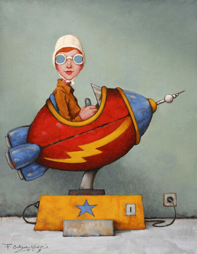 """Fred Calleri, '""""Needing Nickels"""" Oil painting of a red headed child in a rocket', 2019"""
