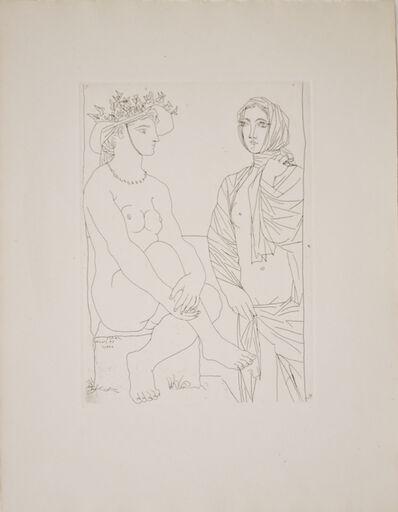 Pablo Picasso, 'Au Bain, Femme au Chapeau à Fleurs et Femme drapée dans une Serviette (S.V. 79)', 1934