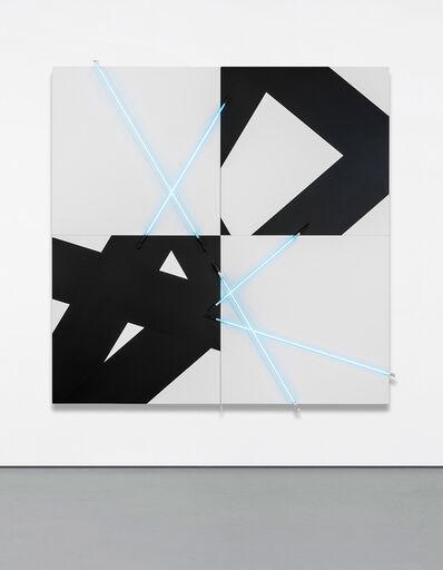 François Morellet, '5 lignes au hasard (π) en peinture et en néon no 3', 2005
