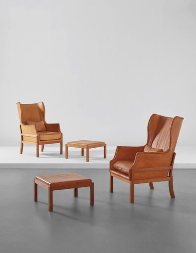 Mogens Koch, 'Pair of wingback armchairs and ottomans', 1970s