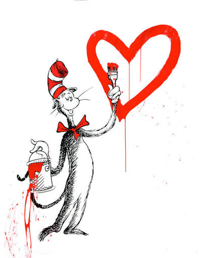Mr. Brainwash, 'The Cat and The Heart (Red Large)', 2020