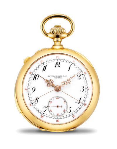 Patek Philippe, 'A very fine and rare yellow gold minute repeating openface split-seconds chronograph watch with Breguet numerals and retailed by J. H. Leyson, Butte Montana', 1900