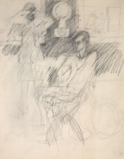 Elaine de Kooning, 'Frank O'Hara in George Segal's Studio, Woman Looking in a Mirror', 1970