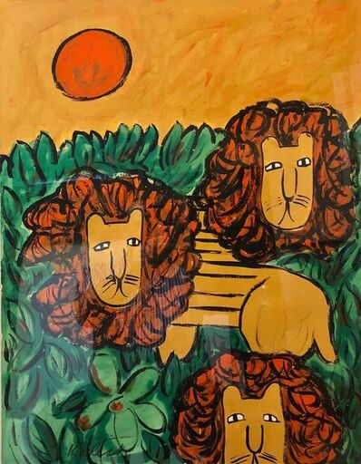 "Lionel Kalish, 'Original Oil Painting ""LIONS"" in a Modernist Illustration Graphic Style', 1960-1969"