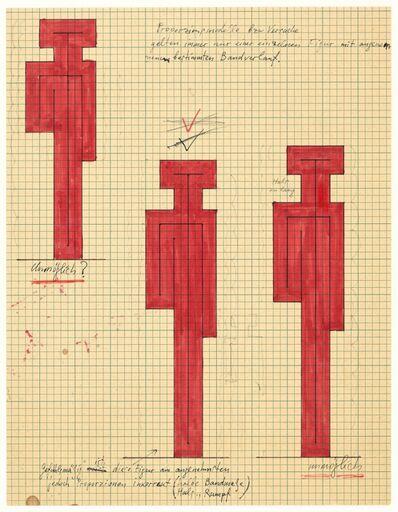 Joannis Avramidis, 'Orthogonale Bandfigur, Entwurfsvarianten', 1969/1970