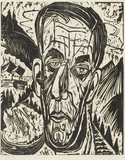 Ernst Ludwig Kirchner, 'Kopf Henry van de Velde, Hell. - Van de Velde zwischen Bergen (Dube H311; Schiefler H286; Gercken 861/II)', 1917