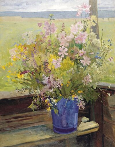 Aleksandr Ivanovich Preobrazhensky, 'Flowers in the dacha', 1956