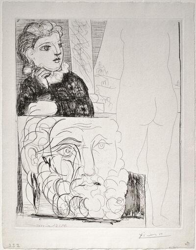 Pablo Picasso, 'Femme accoudée Sculpture de Dos et Tête barbue (Woman sitting, Back of Sculpture and Bearded Man)', 1933