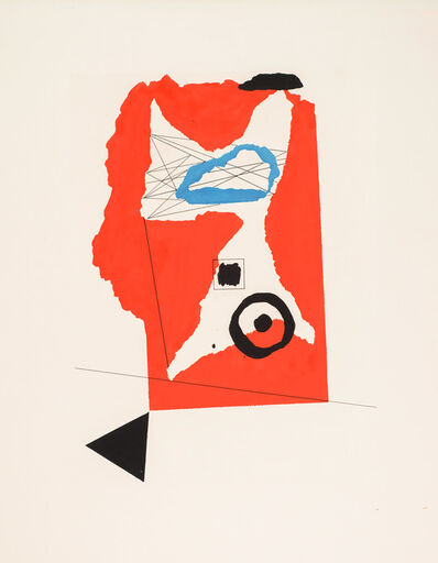 Gyorgy Kepes, 'Red, blue, black triangle, black circle with dot', c. 1942-1944