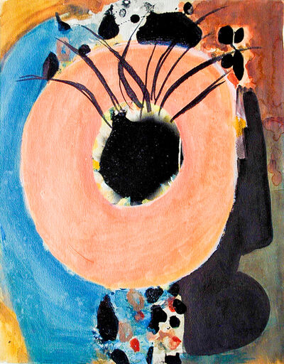 Dusti Bongé, 'Untitled (Peach Circle with Black Flowers)', ca. 1988