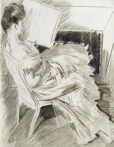 Paul César Helleu, 'Madame Helleu Lisant devant la Cheminée', Late 19th Century
