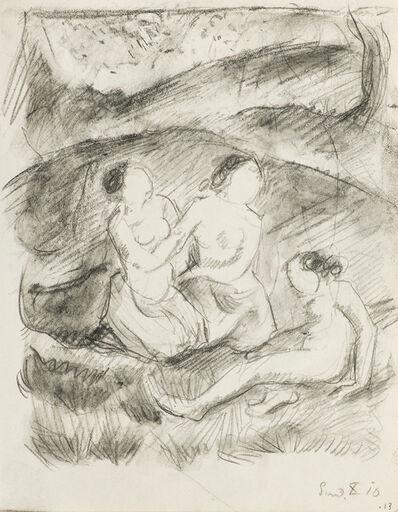 Franz Marc, 'Drei weibliche Akte in Landschaft', 1910