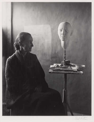 Eliot Porter, 'Georgia O'Keeffe with bust by Mary Callery, Ghost Ranch, NM', 1945