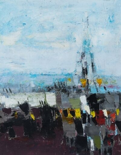 Donald Hamilton Fraser, 'Vertical Landscape with Eiffel Tower Oct '53, 1953', 1953