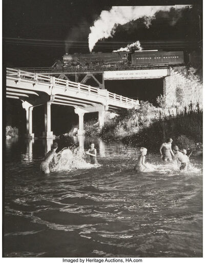 O. Winston Link, 'Hawksbill Creek Swimming Hole with No. 96 Northbound', 1956