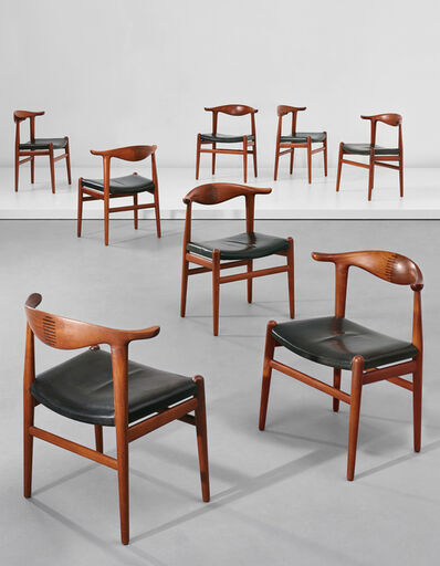 Hans Jørgensen Wegner, 'Set of eight 'Cowhorn' chairs, model no. JH 505', ca. 1952