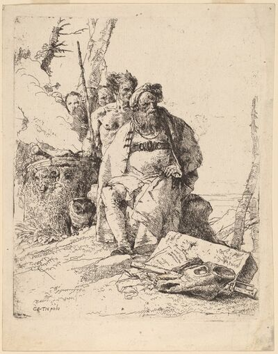 Giambattista Tiepolo, 'Seated Magician with Other Figures beside an Altar'