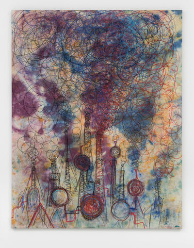 Andrej Dubravsky, 'Big factory with purple and blue smoke', 2019
