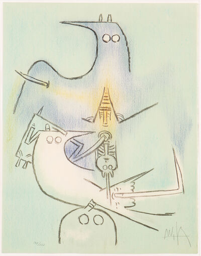 Wifredo Lam, 'Arbre de Plumes (Full Moon) from Pleni Luna Suite', 1974