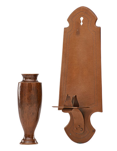 Dirk Van Erp, 'Small shell-casing vase and candle sconce'
