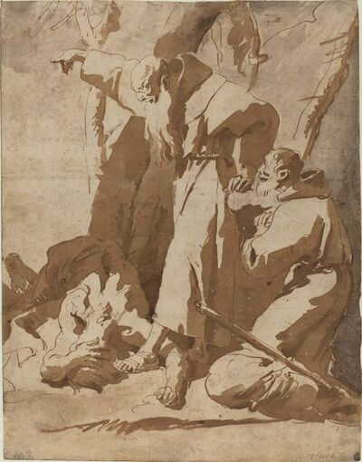 Giambattista Tiepolo, 'Two Monks with a Prostrate Man', ca. 1725