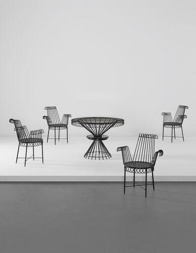 Mathieu Matégot, 'Cap d'Ail table and set of four armchairs', circa 1952