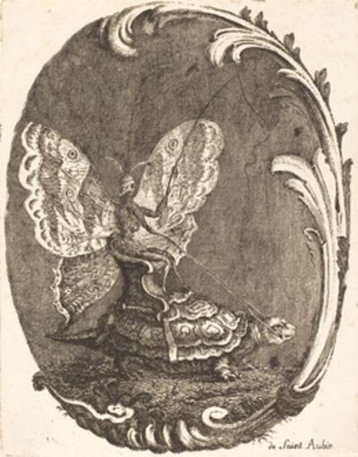 Charles Germain de Saint-Aubin, 'Le Papillon et la Tortue (The Butterfly and the Turtle)', in or after 1756
