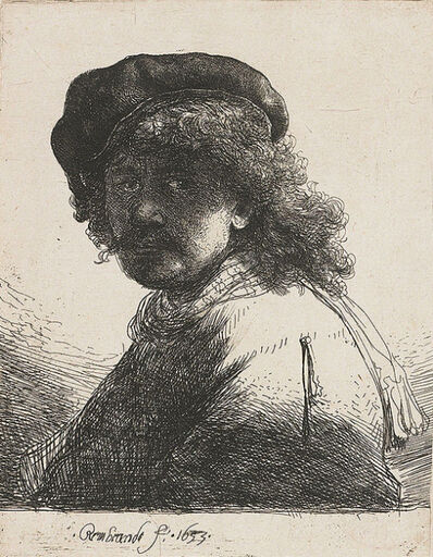 Rembrandt van Rijn, 'Self-portrait in a cap and scarf with the face dark ', 1633