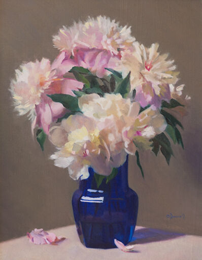 Joshua O'Donnell, 'Peonies in a Cobalt Glass Vase'