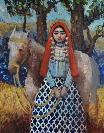 "Rimi Yang, 'Joyful Girl (after Oscar E. Berninghaus painting titled ""Pueblo Indian Woman of Taos"")', 2020"