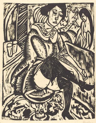 Ernst Ludwig Kirchner, 'Woman Tying Her Shoe (Frau, Schuh Zuknopfend)', 1912
