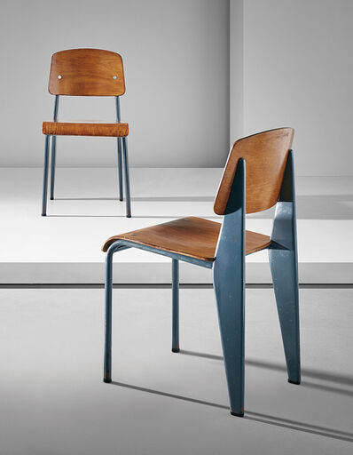 """Jean Prouvé, 'Pair of """"Semi-metal"""" chairs, model no. 305', ca. 1950"""