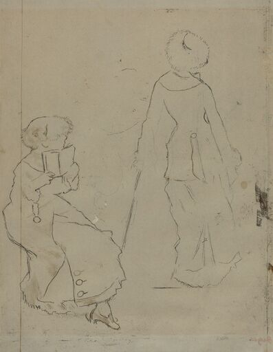 "Edgar Degas, 'Study for ""Mary Cassatt at the Louvre: The Etruscan Gallery"" [verso]', ca. 1879"