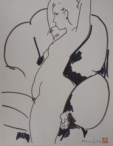 Alain Bonnefoit, 'Nude in design chair', 20th  Century