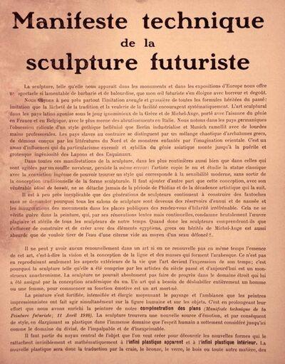 Umberto Boccioni, 'Manifeste Technique de la Sculpture Futuriste', 1912